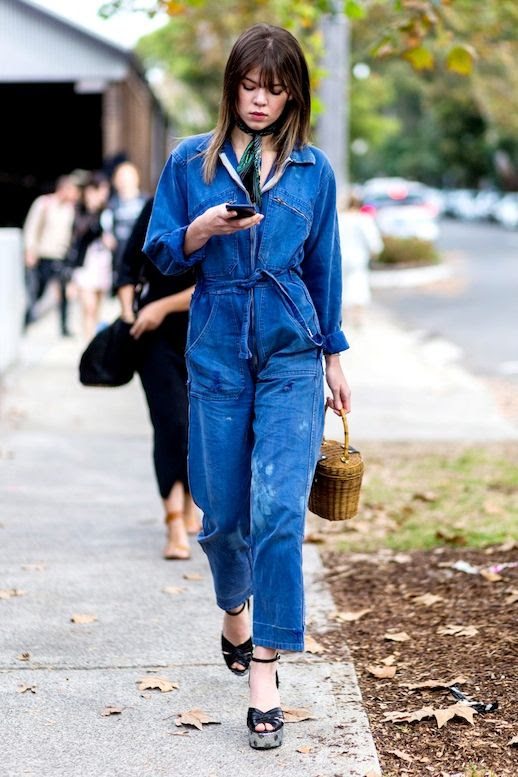 Le Fashion Blog Street Style Belted Denim Utility Jumpsuit Silk Neck Scarf Basket Bag Platform Sandals Via Popsugar