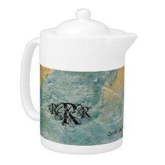 Monogram Copper Turquoise Faux Pattern Teapot
