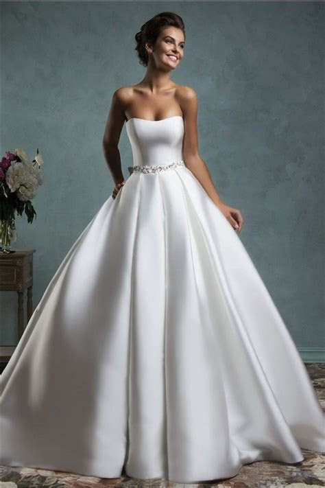 Simple Royal Ball Gown Strapless Satin Draped Wedding