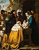 Bartolome Esteban Murillo - Adoration of the Magi, Canvas Art Print by YCC, Size 11x14, Canvas Print Rolled in a Tube