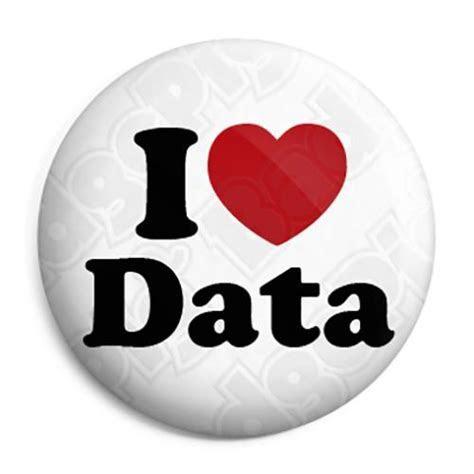 I Love (Heart) Data   Geek Button Badge, Fridge Magnet