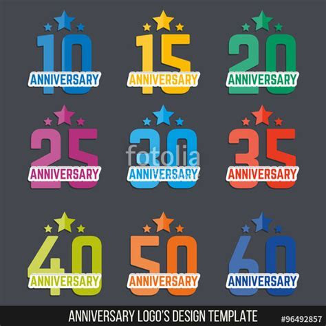 """Vector set of anniversary color signs, symbols. 10, 15"