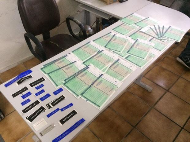 Documentos do Detran apreendidos em operação da polícia (Foto: Divulgação/Polícia Civil)