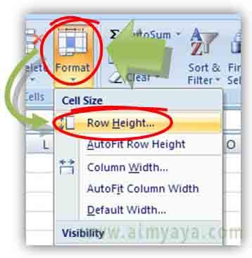 Gambar: Cara Mengatur Tinggi (beberapa) Baris di Microsoft Excel