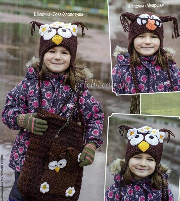 Cap búho para niñas y niños.  La descripción del esquema de tejer