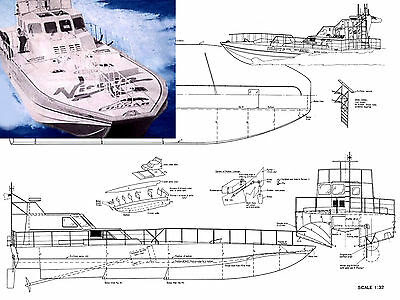 MODEL BOAT PLANS 1:30 SCALE RADIO CONTROL HARBOUR TUG PLAN & BUILDING