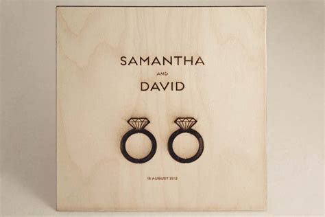 Classic Wedding Invitations   His and her wedding rings  Wood