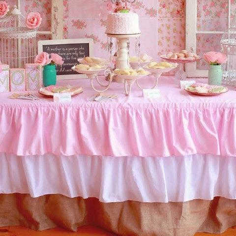 Ruffled Pink Burlap Tablecloth