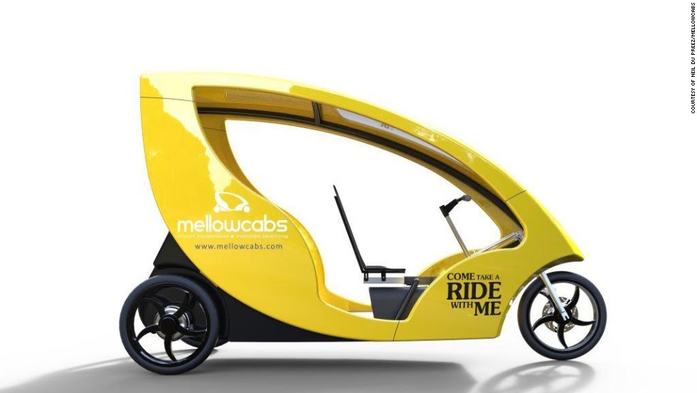 """We take a look at some of South Africa's most innovative start ups. These urban electric cabs -- <a href=""""http://www.mellowcabs.com/"""" target=""""_blank"""">Mellowcabs</a> -- have an estimated daily range of 110 kilometers (68 miles) and are semi-powered by a solar panel on the roof."""