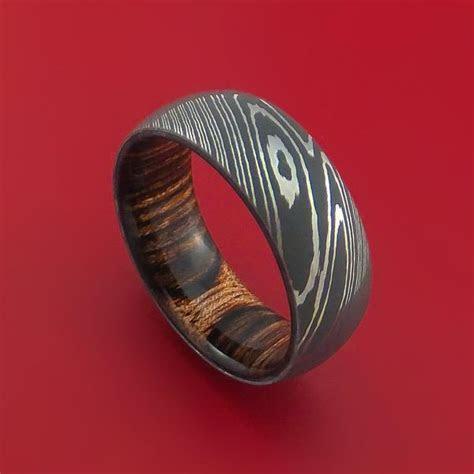 Damascus Steel Ring with Interior Hardwood Sleeve Custom