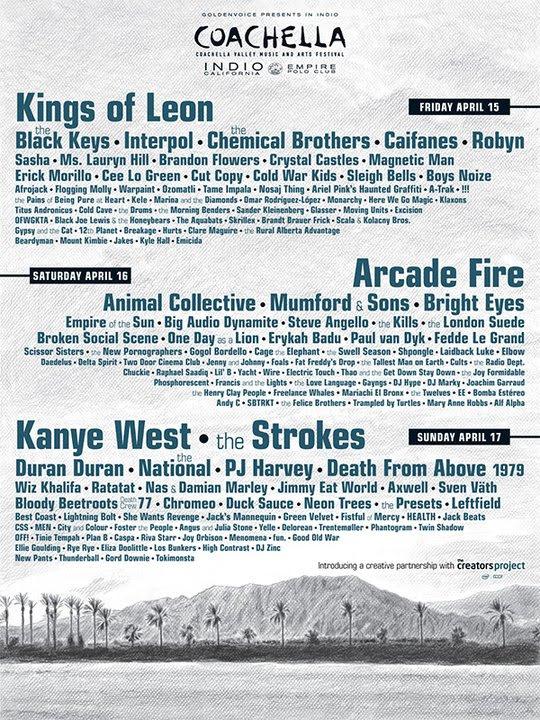 poster con el listado de artistas de coachella 2011