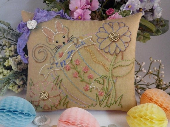 new 2011 Easter Egg bunny Mouse Stitchery E Pattern - email Pdf primitive embroidery pillow pinkeep tag pin cushion tuck