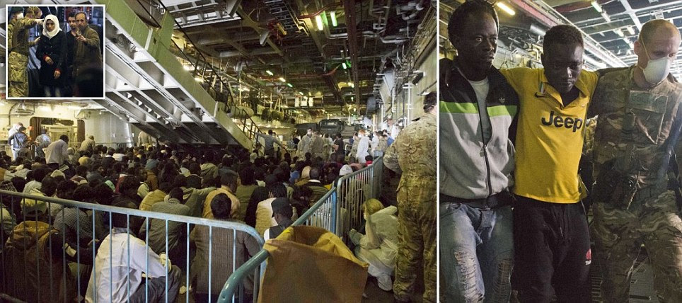 Royal Navy rescues migrants from Mediterranean death boats off the shore of Libya