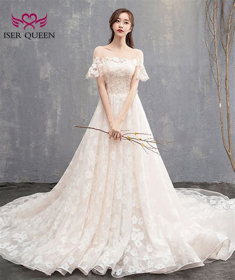 Off Shoulder Floral A line Wedding Dress 2018 New Cap