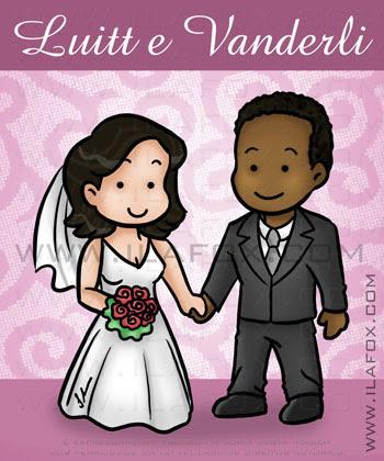 caricatura fofinha, noivo negro, noiva branca, by ila fox