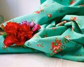 1940s Turquoise Vintage Floral Dress Fabric Semi Sheer Cotton - BlueZinniaVintage