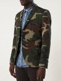 Topman Khaki Camo Skinny Blazer