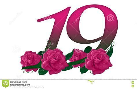 Number 19 Floral Stock Illustration   Image: 79141396