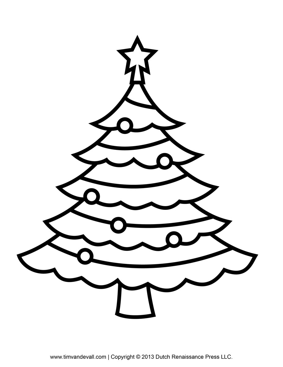 Line Drawing Of A Christmas Tree At Getdrawingscom Free For