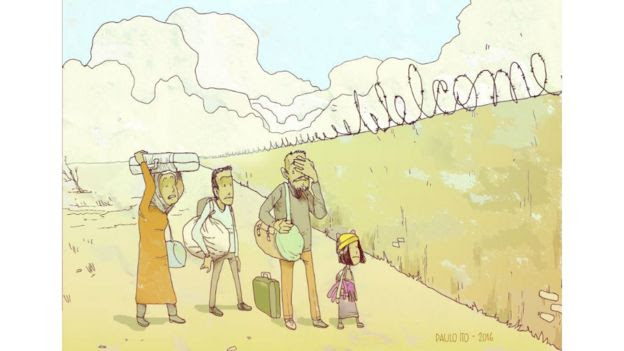Familia diante de muro no qual um arame diz