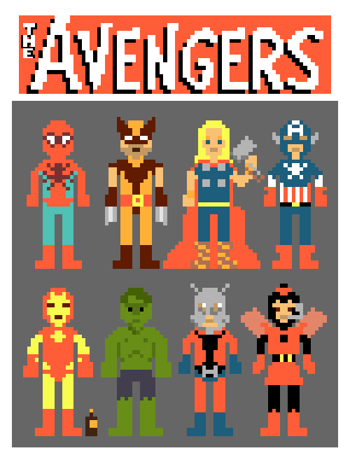 The Avengers have been given a marvelous 8-bit pixel art redesign by Ian Andersen. Follow him on Tumblr to keep up on his work. Avengers in Pixels by Ian Andersen (Tumblr) (Flickr) (Twitter) Via: weflewairplanes