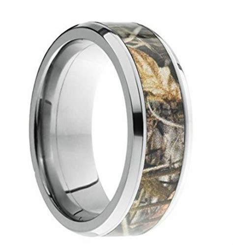 8MM SILVER BEVELED TUNGSTEN WEDDING BANDS RING CAMO TREE