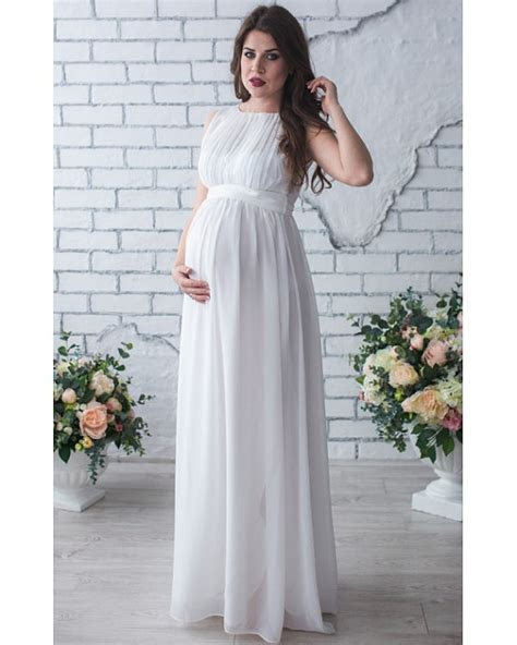 Hot Sale white chiffon wedding dress for pregnant women