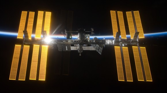 The International Space Station in March 2009 as seen from the departing STS-119 space shuttle Discovery crew. Credit: NASA/ESA