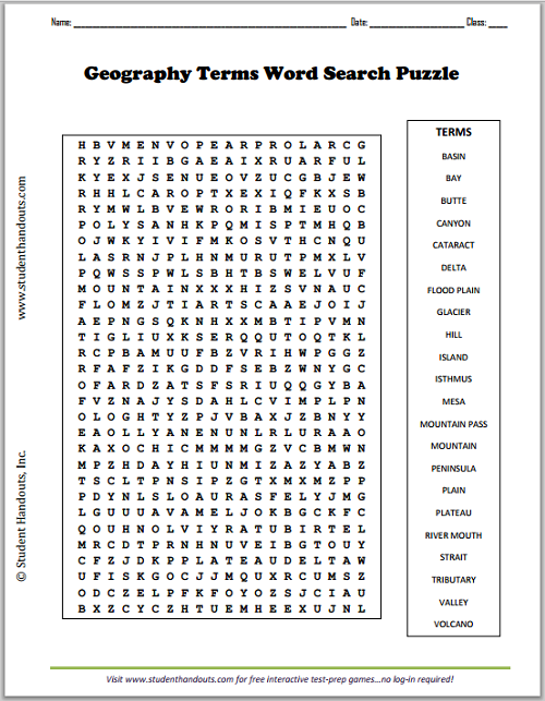 Geography Terms Word Search Puzzle | Student Handouts