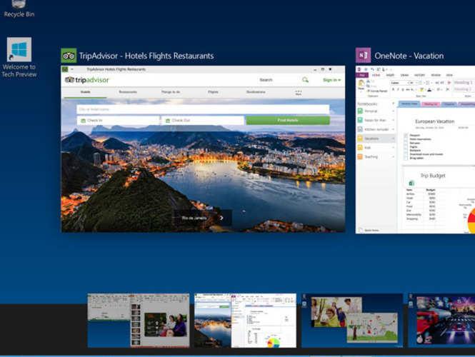 Multiple desktops, new task view