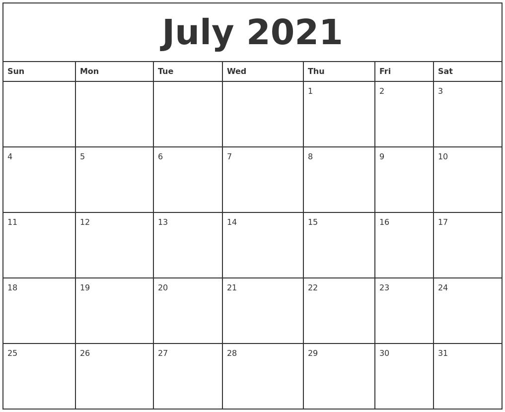 july 2021 printable monthly calendar