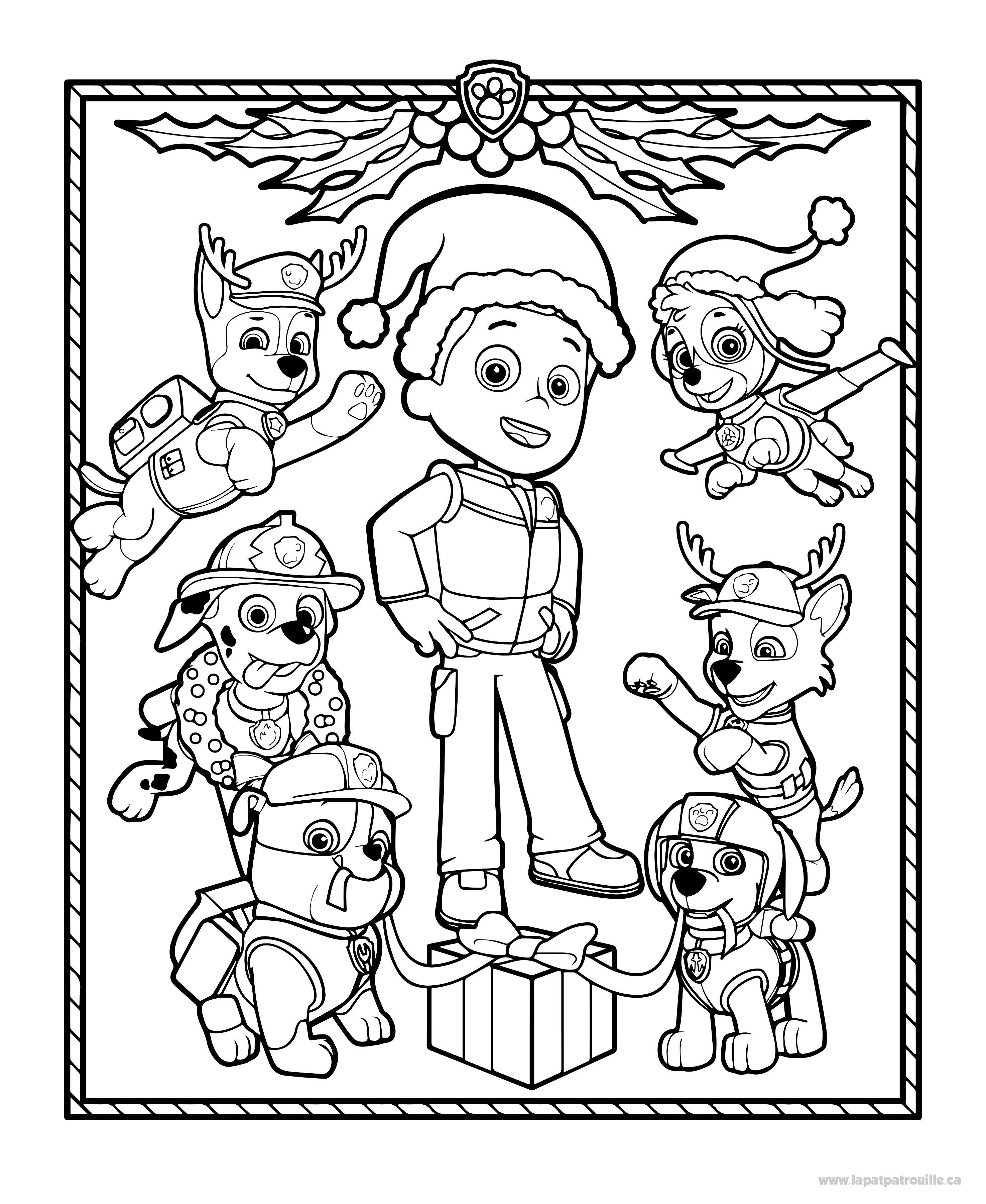 Coloriage De Les Chiots De La Patpatrouille Décorent Pour Noël La
