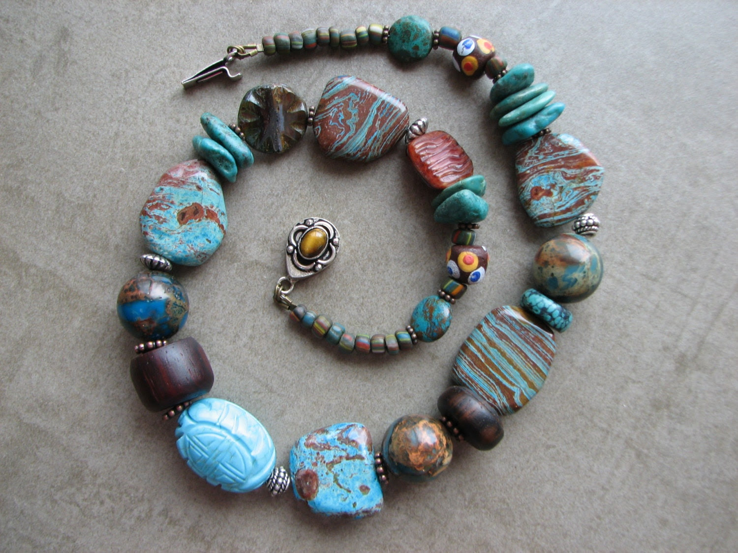 Jasper, Turquoise, Czech Glass, Stripped Ebony Wood, and Chrysilica Necklace, Hippie, Bohemian Style - BeYouBeautiful
