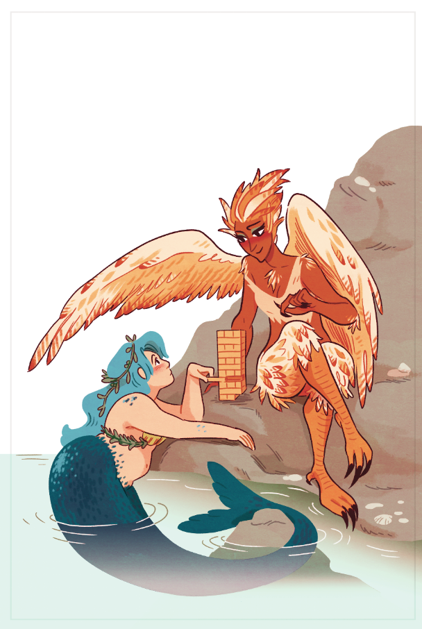 A mermaid and a harpy playing Star Crossed by the water