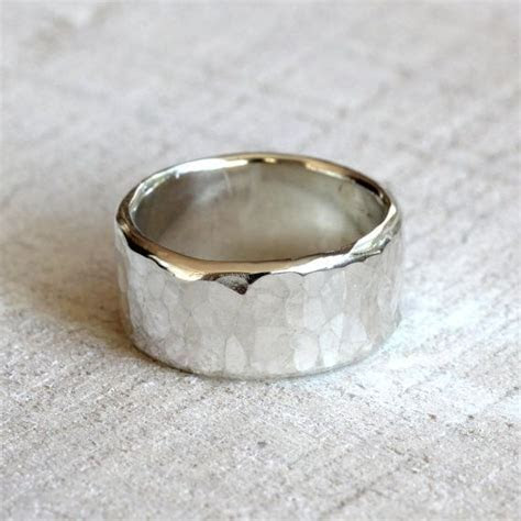 Men's wide band hammered sterling silver ring   Full Time