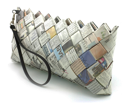 recycled newspaper clutch