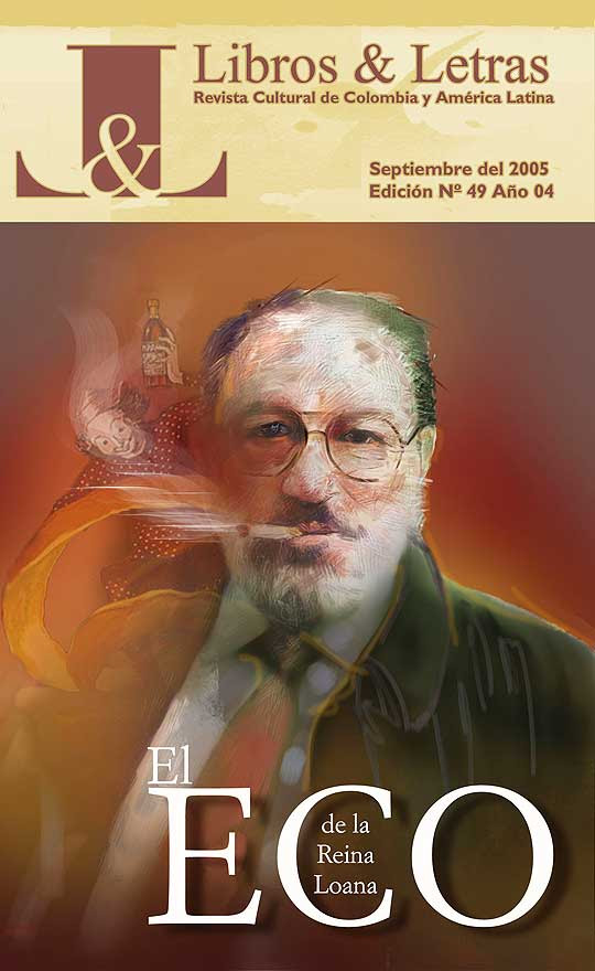 Retrato de Umberto Eco por Hache Holguín, portada de Libros y Letras