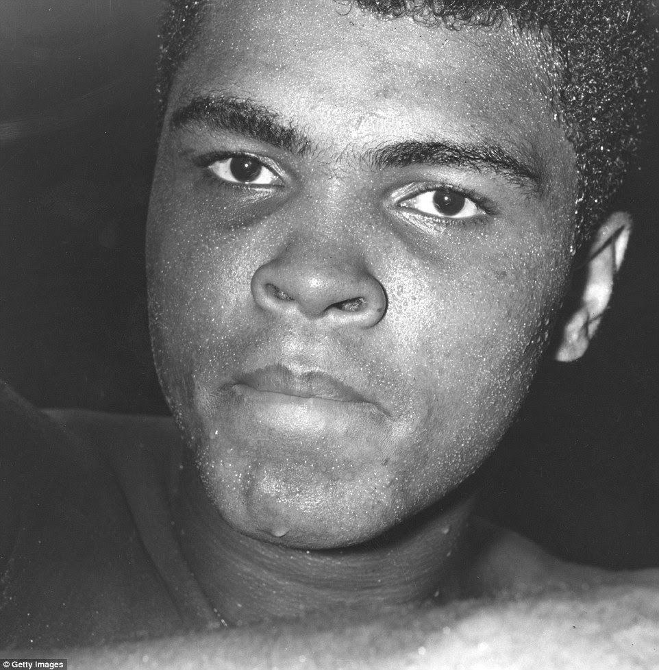 A close-up image of Ali in August 1966 shows him during a training session ahead of his fight with Brian London; he won in three rounds