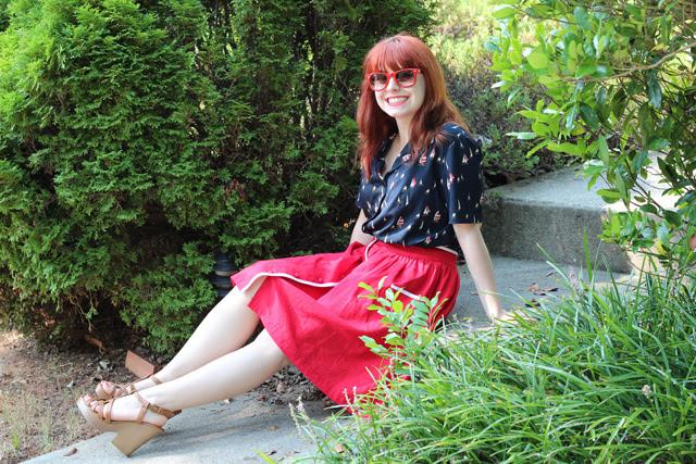 Sailboat Print Shirt, Red Linen Skirt