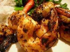 Berbère shrimp with rapini and basmati rice