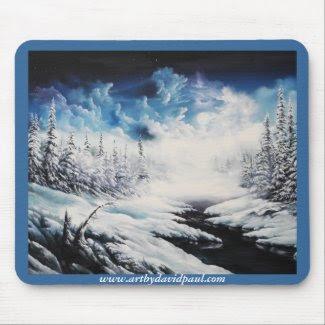Winter Moon snow scene on customizable products mousepad