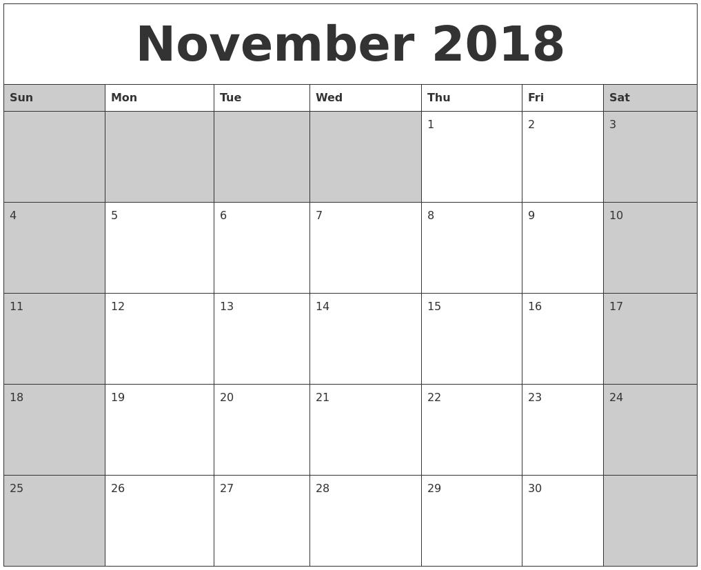 november 2018 calanders