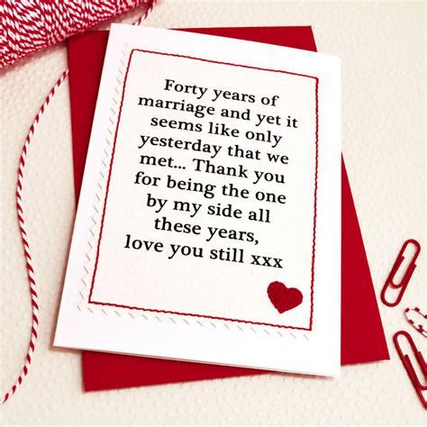 Card Design Ideas : Forty Years Marriage Wedding