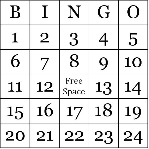 Bingo cards for