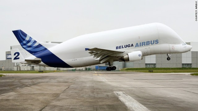"""The Beluga isn't serially produced, making each an """"artisan"""" product. The A300-600ST Super Transporter can carry a payload of 47 metric tons (103,616 pounds) over a range of 1,500 nautical miles."""
