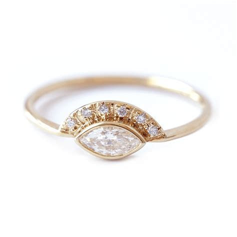 Marquise Diamond Engagement Ring   Low Profile Engagement