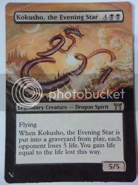 Kokusho the Evening Star altered alter magic the gathering card dragon alter black dragon mtg card