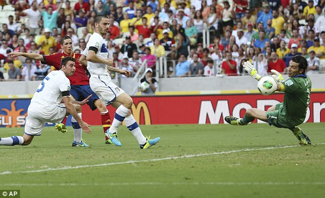 Effort: Fernando Torres attempts a shot on goal as Gianluigi Buffon watches