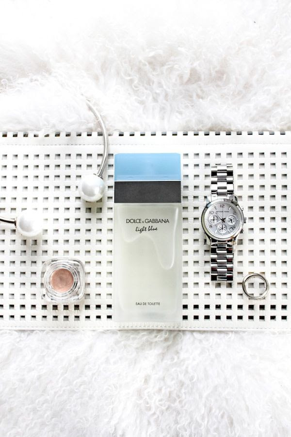 Le Fashion Blog Holiday Party Beauty Grid White Clutch Pearl Choker Illuminator Silver Watch Ring White Mongolian Fur By Jenn Camp