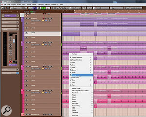 In Cubase 6.5, Steinberg greatly improved their comping tools, making it much easier to edit together the best sections of a multi-take, multitrack recording.